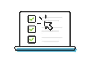 Checklist and Tick on Laptop Screen Icon. Check Mark Browser Window and Choice, Survey Concepts Vector Design on White Background.
